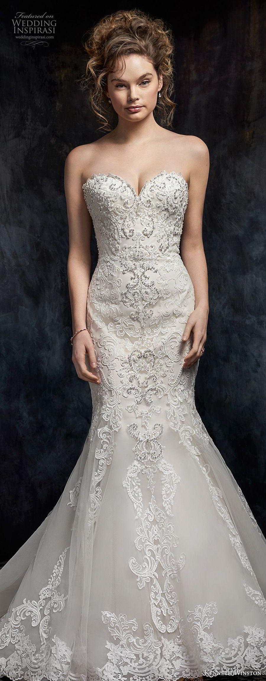 kenneth winston fall 2017 bridal strapless sweetheart neckline full embellishment elegant romantic mermaid wedding dress chapel train (42) lv