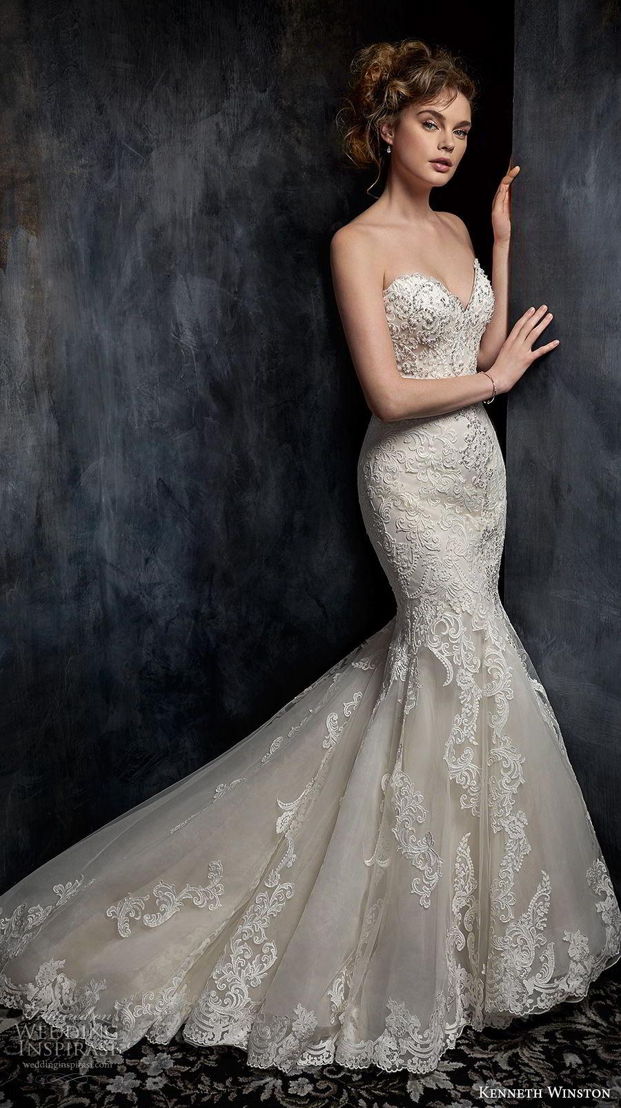 kenneth winston fall 2017 bridal strapless sweetheart neckline full embellishment elegant romantic mermaid wedding dress chapel train (42) mv