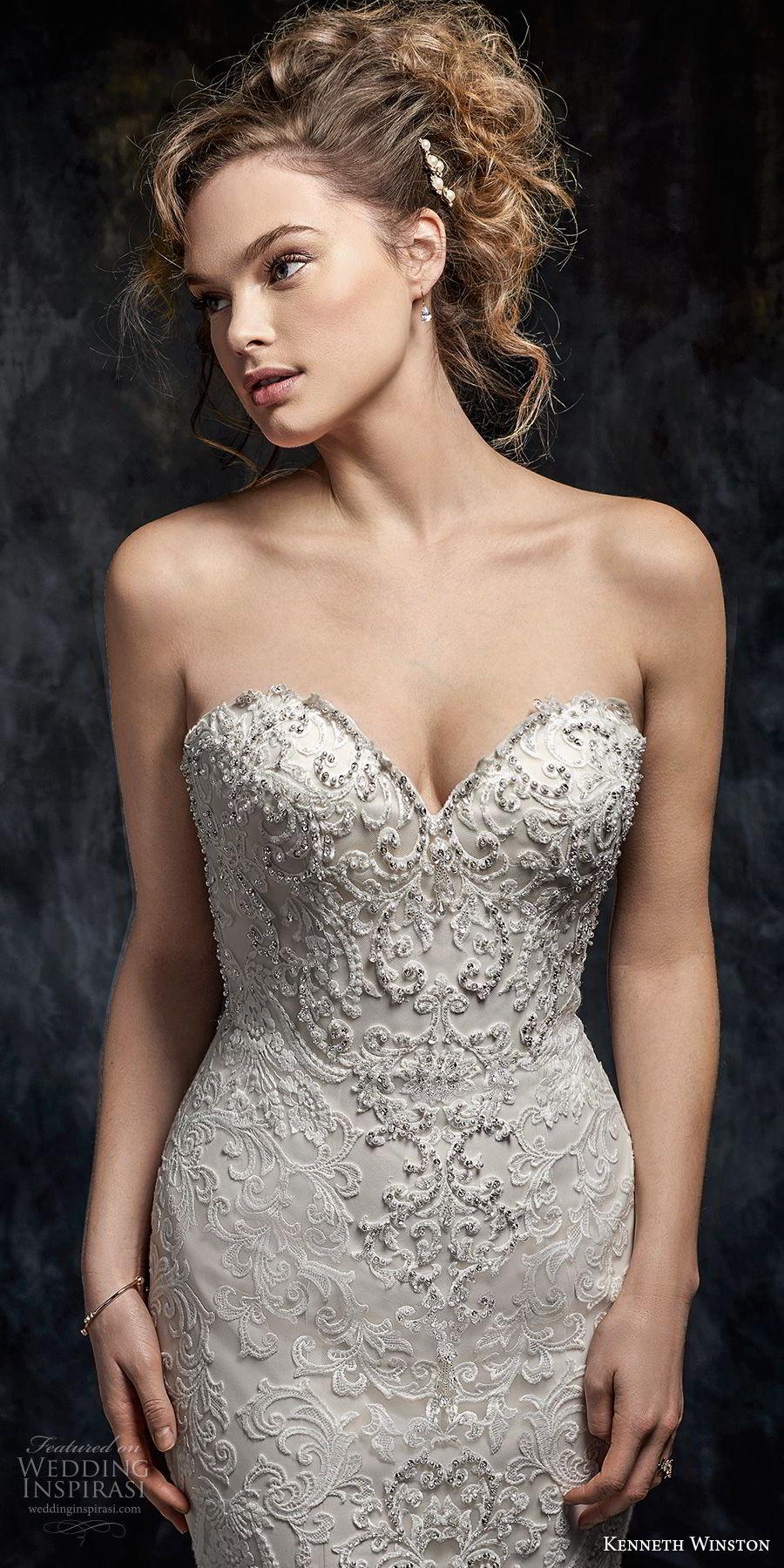 kenneth winston fall 2017 bridal strapless sweetheart neckline full embellishment elegant romantic mermaid wedding dress chapel train (42) zv