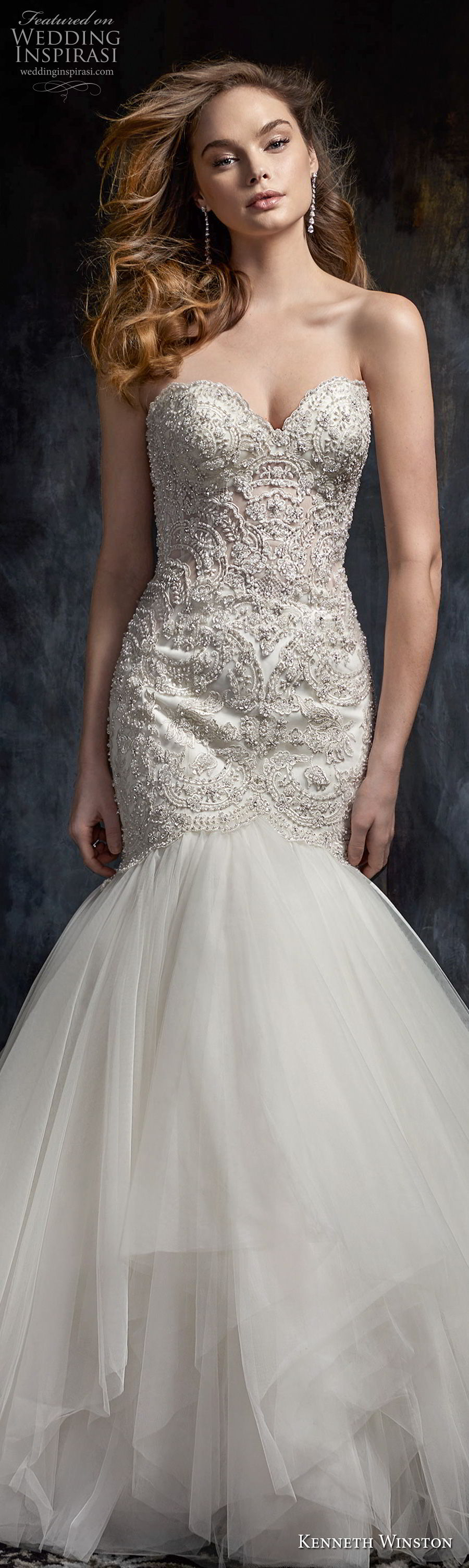 kenneth winston fall 2017 bridal strapless sweetheart neckline heavily beaded bodice elegant mermaid wedding dress chapel train (47) lv