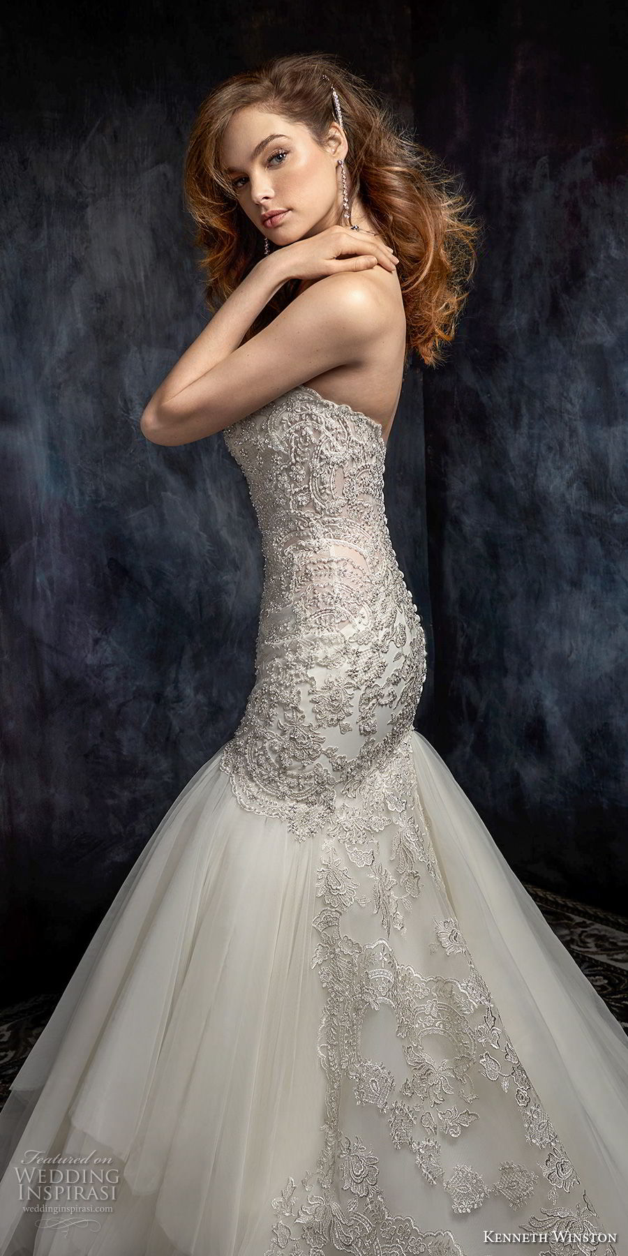 kenneth winston fall 2017 bridal strapless sweetheart neckline heavily beaded bodice elegant mermaid wedding dress chapel train (47) sdv