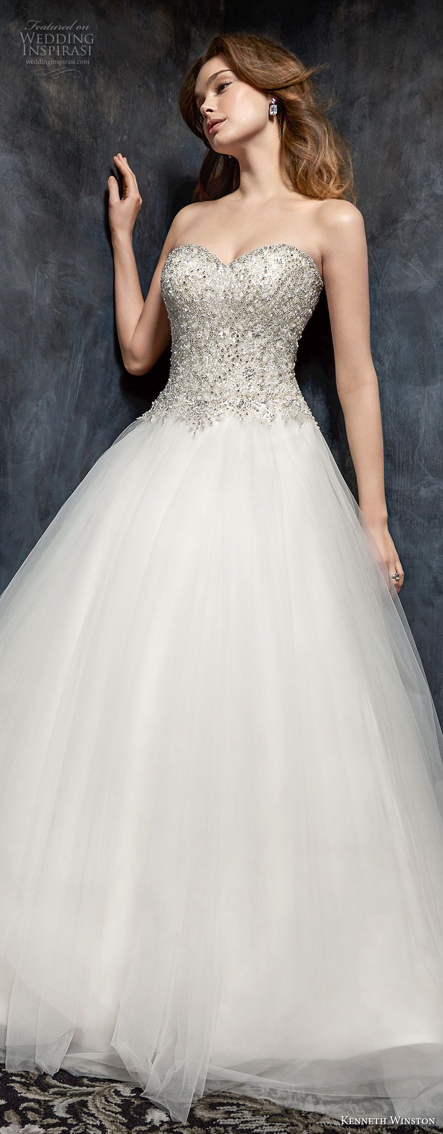 kenneth winston fall 2017 bridal strapless sweetheart neckline heavily embellished beaded bodice princess ball gown a line wedding dress chapel train (52) lv