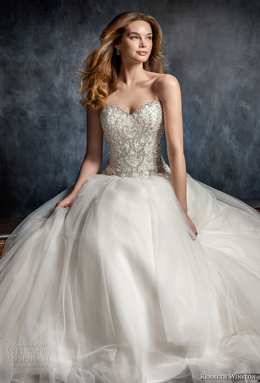 kenneth winston fall 2017 bridal strapless sweetheart neckline heavily embellished beaded bodice princess ball gown a line wedding dress chapel train (52) mv