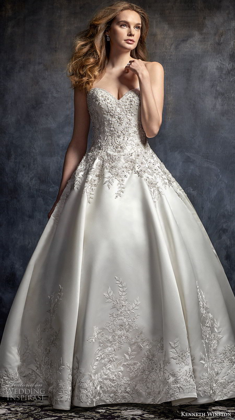 kenneth winston fall 2017 bridal strapless sweetheart neckline heavily embellished beaded bodice satin skirt princess ball gown wedding dress chapel train (49) mv