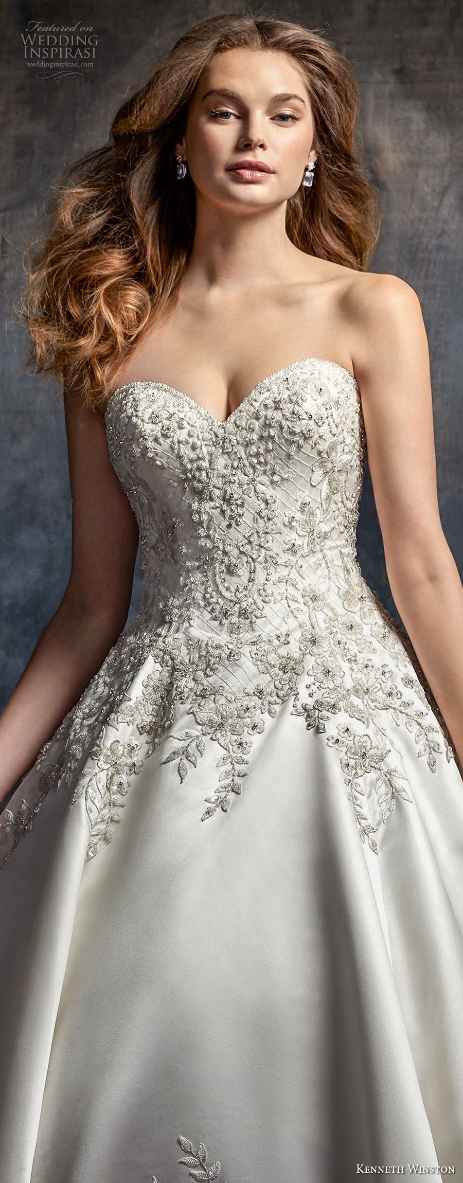 kenneth winston fall 2017 bridal strapless sweetheart neckline heavily embellished beaded bodice satin skirt princess ball gown wedding dress chapel train (49) zv