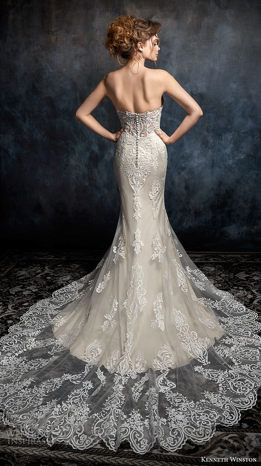 kenneth winston fall 2017 bridal strapless sweetheart neckline heavily embellished bodice elegant sheath fit and flare wedding dress chapel train (28) bv