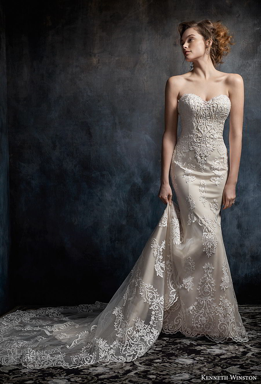 kenneth winston fall 2017 bridal strapless sweetheart neckline heavily embellished bodice elegant sheath fit and flare wedding dress chapel train (28) mv