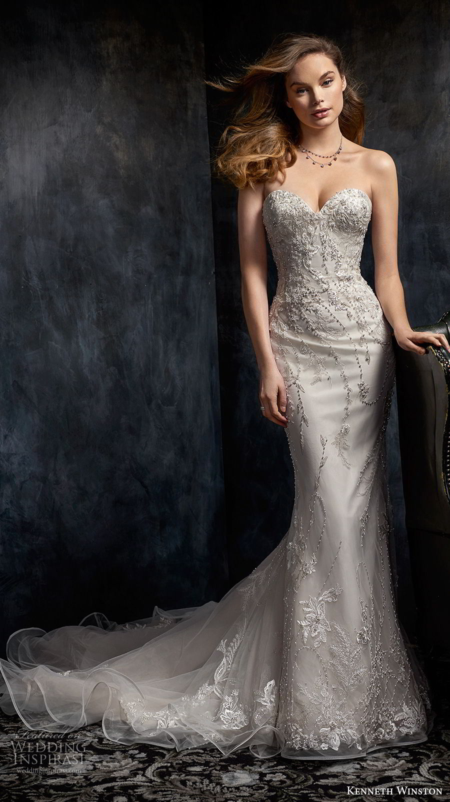 kenneth winston fall 2017 bridal strapless sweetheart neckline heavily embellished bodice elegant sheath fit and flare wedding dress chapel train (35) mv