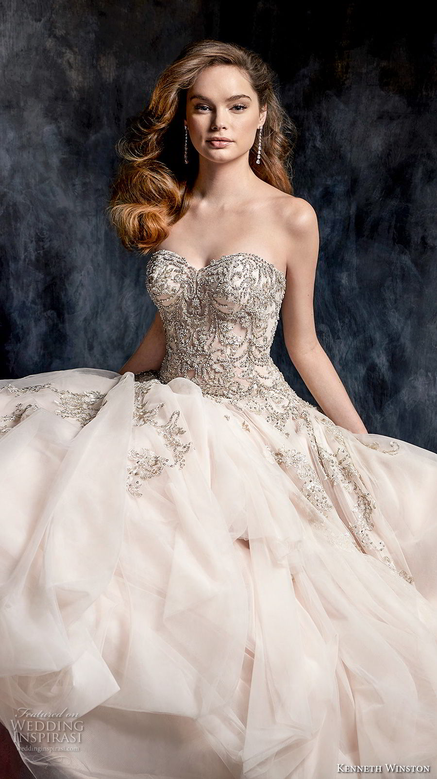 kenneth winston fall 2017 bridal sttrapless sweetheart neckline heavily embellished beaded bodice romantic blush pink a  line wedding dress chapel train (45) mv