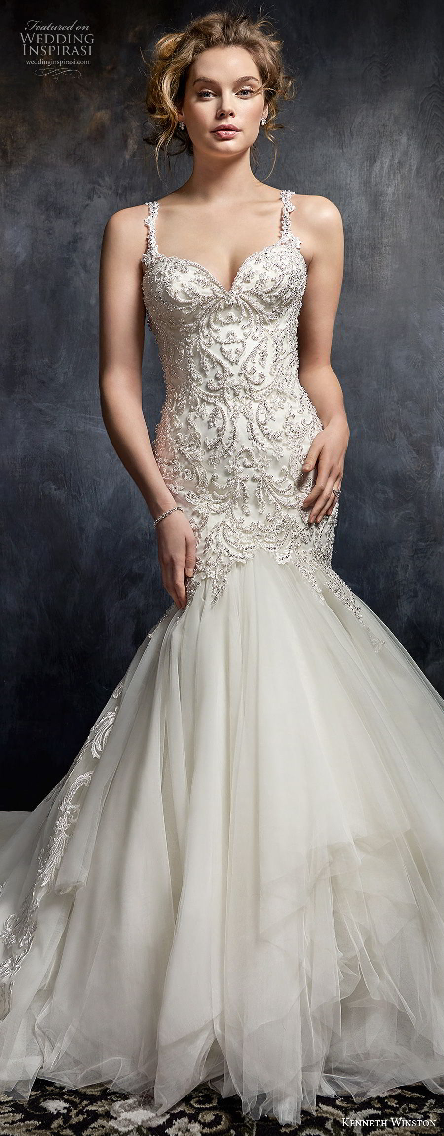 kenneth winston fall 2017 bridal thin strap sweetheart neckline heavily embellished beaded bodice glamorous elegant mermaid wedding dress open back chapel train (53) mv