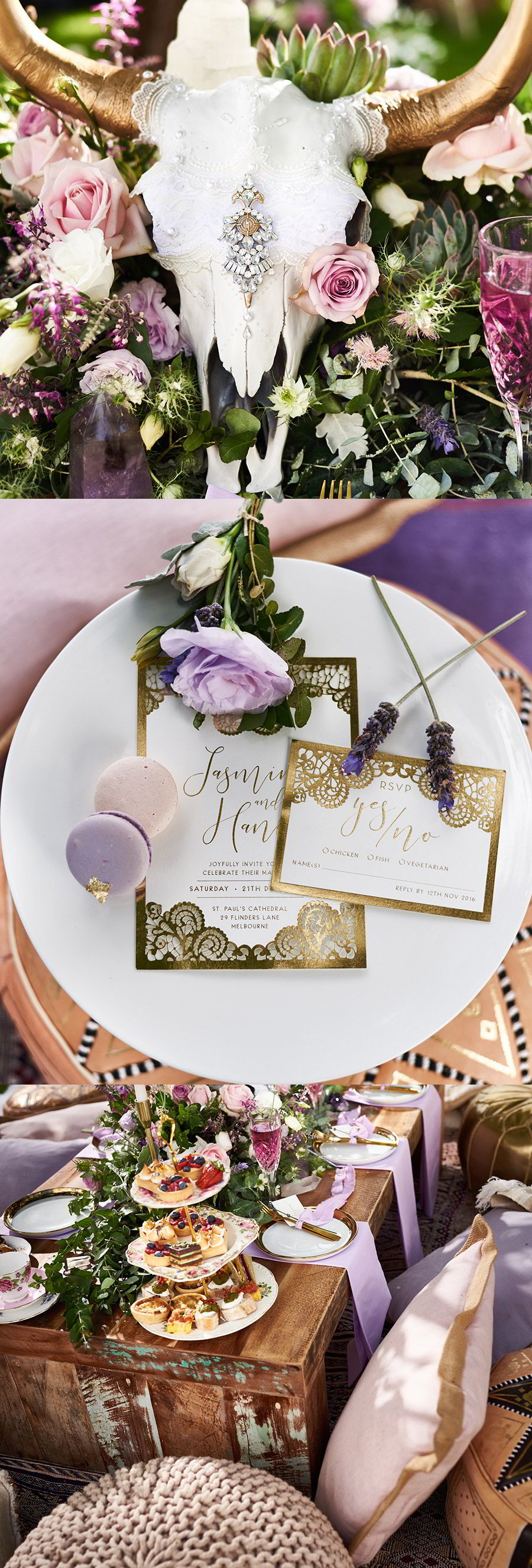 lavender field wedding photo shoot adorn invitations purple gold boho luxe inspiration close up 1