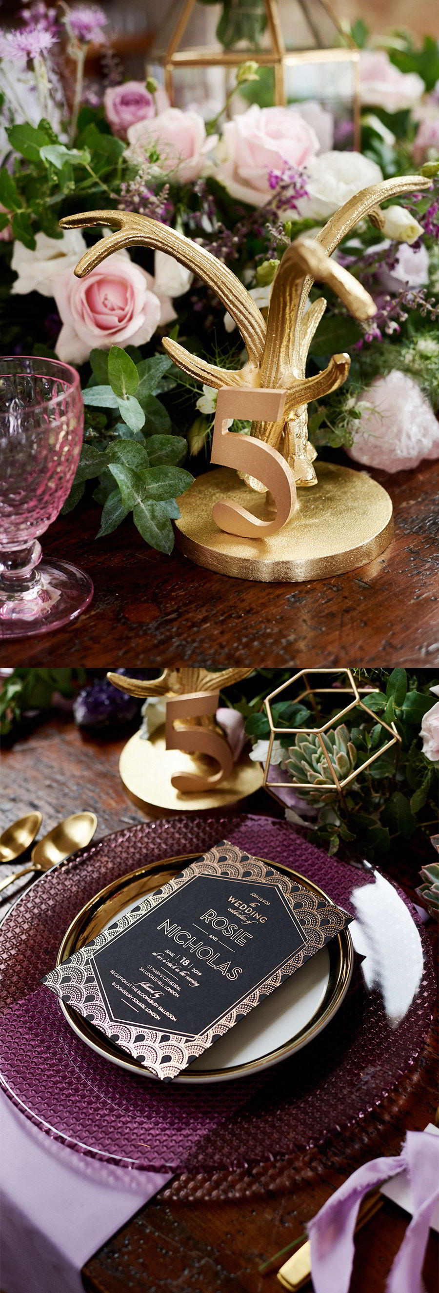 lavender field wedding photo shoot adorn invitations purple gold boho luxe inspiration dark romance metallic foil