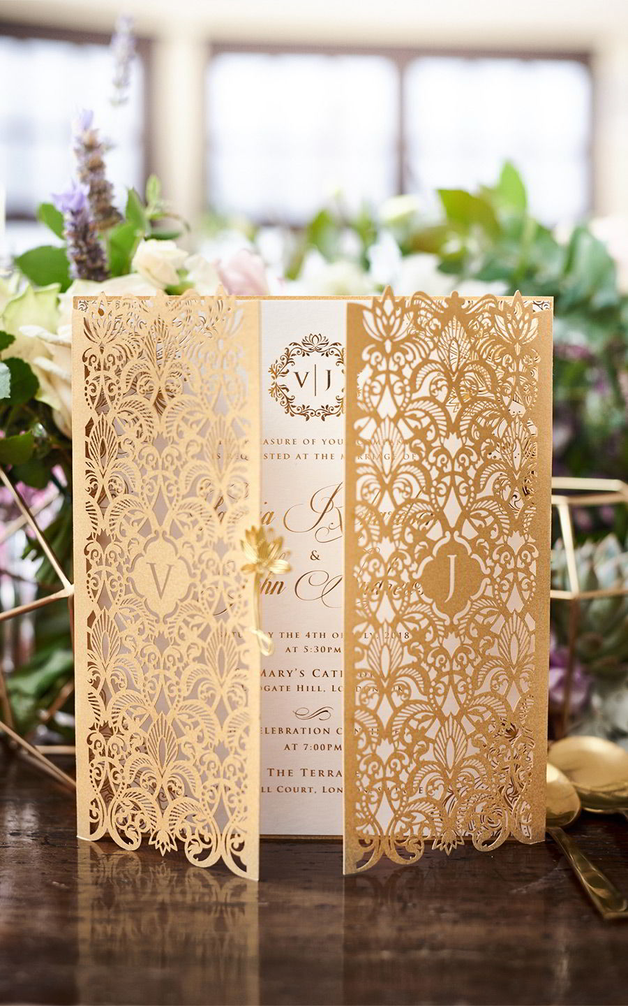 lavender field wedding photo shoot adorn invitations purple gold boho luxe inspiration filigree laser cut invite