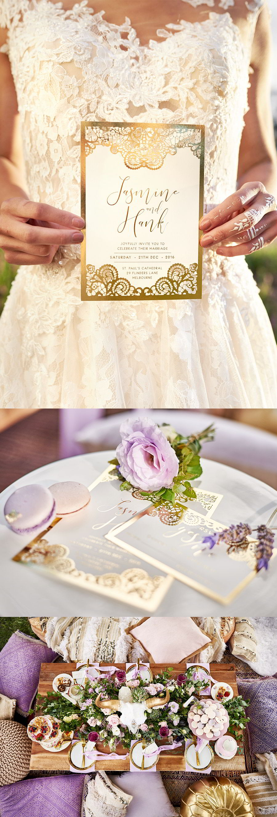 lavender field wedding photo shoot adorn invitations purple gold boho luxe inspiration romantic bohemian weddings