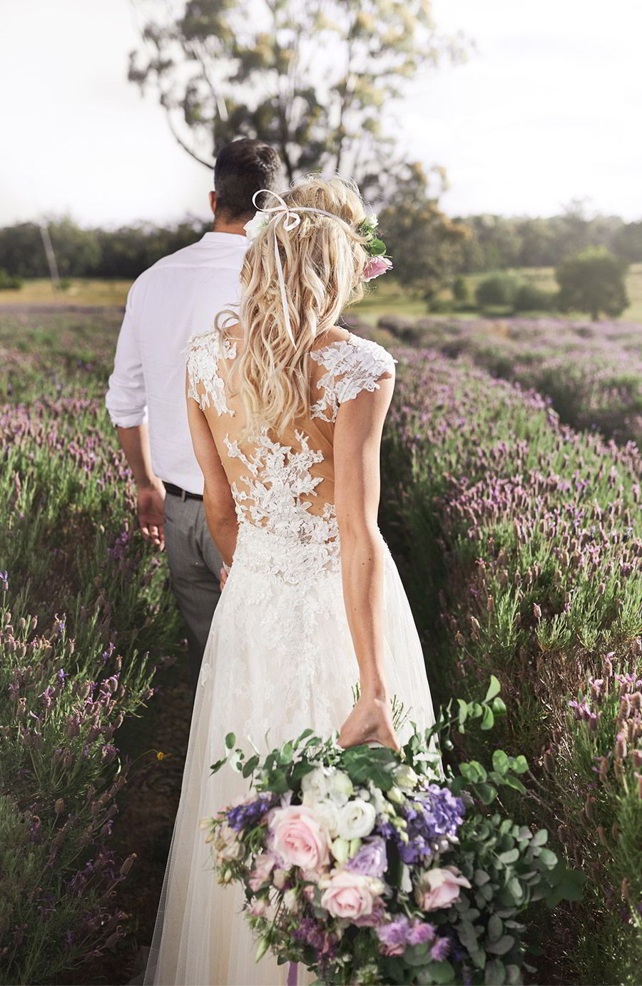 lavender field wedding photo shoot adorn invitations purple gold boho luxe inspiration romantic couple