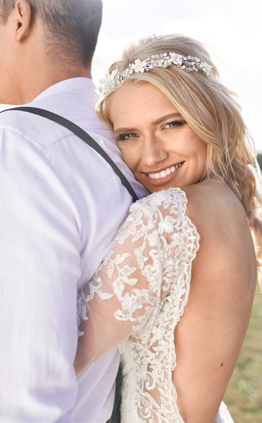 lavender field wedding photo shoot adorn invitations purple gold boho luxe inspiration romantic low back wedding dress