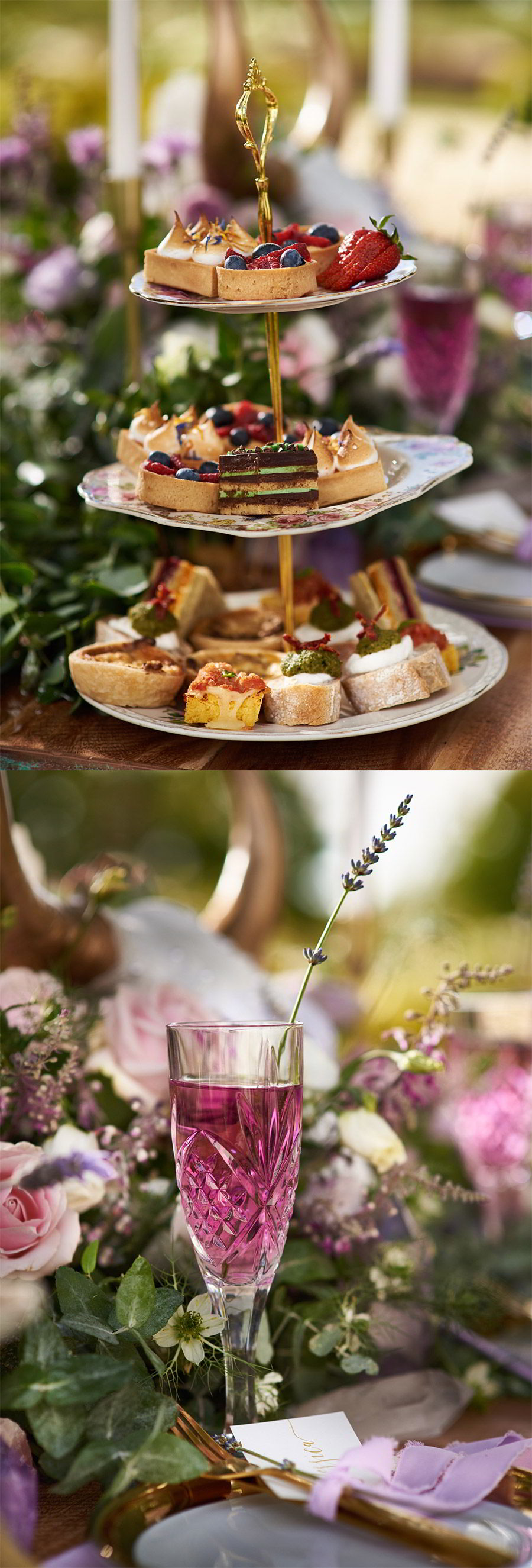 lavender field wedding photo shoot adorn invitations purple gold boho luxe inspiration