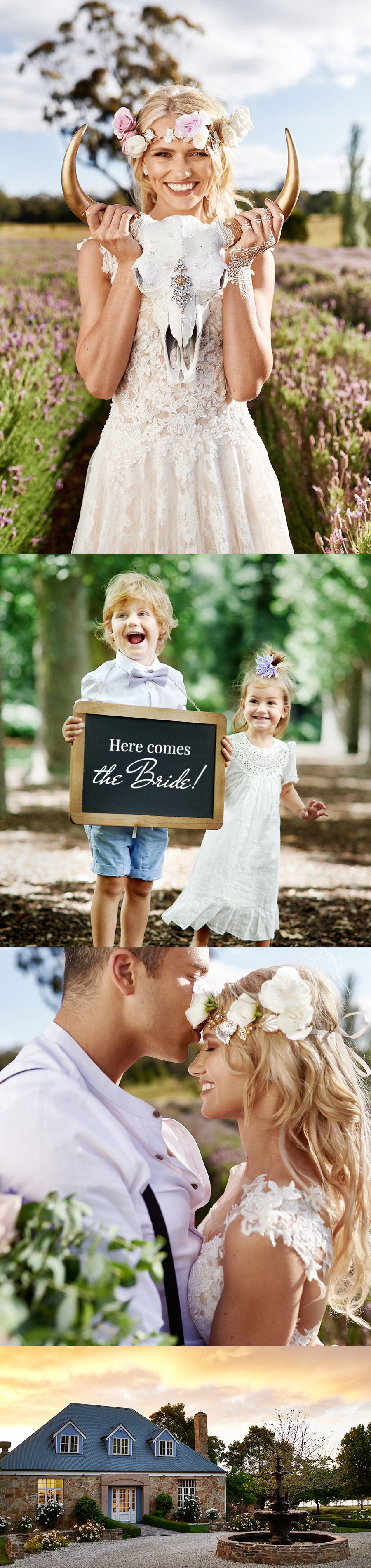 lavender field wedding photo shoot adorn invitations purple gold unique boho luxe inspiration unconventional bride