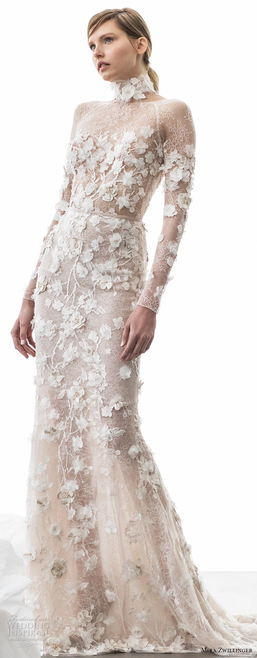 mira zwillinger 2018 bridal long sleeves bateau neck full embellishment elegant sexy romantic sheath wedding dress open v back short train (olivia) mv