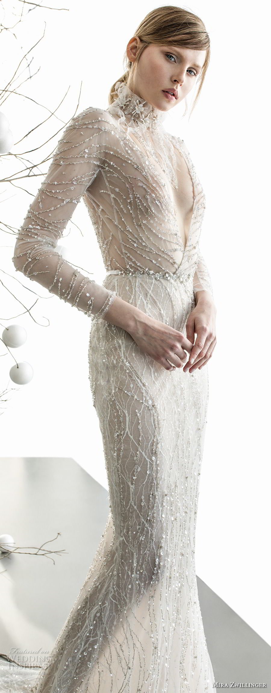 mira zwillinger 2018 bridal long sleeves deep v neck full beaded embellishment elegant sexy glamorous sheath wedding dress (celine) lv