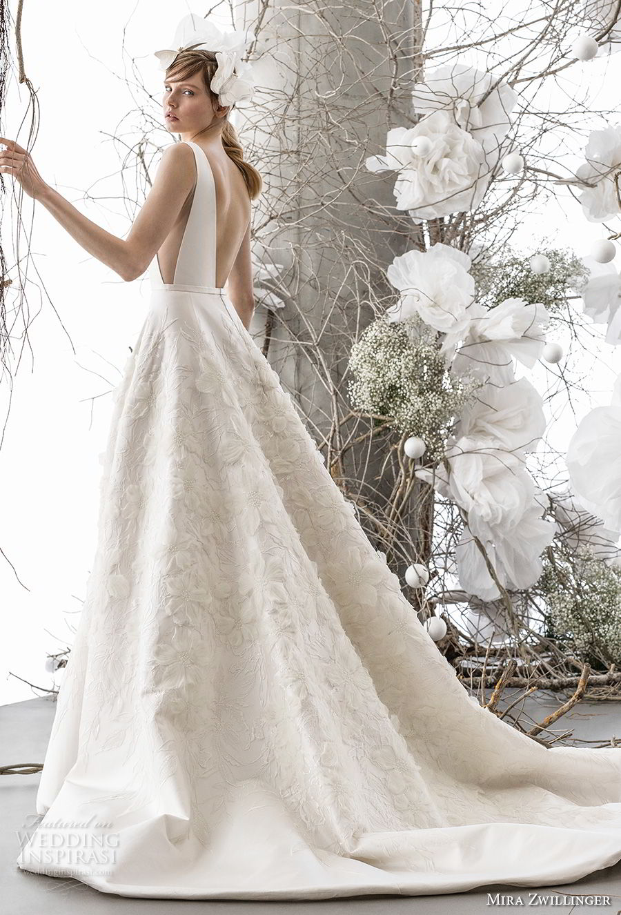 mira zwillinger 2018 bridal sleeveless deep v neck simple bodice side open embellished skirt romantic a line wedding dress open low back chapel train (tara) bv