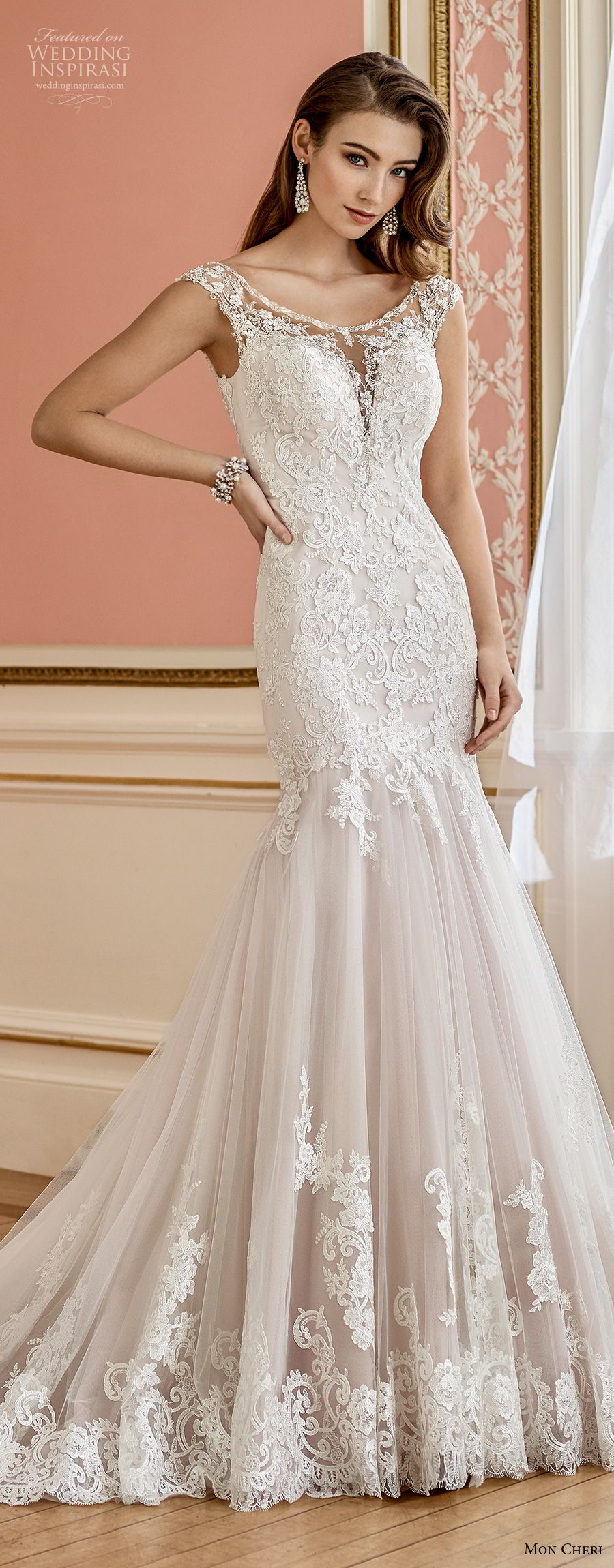 mon cheri fall 2017 bridal cap sleeves illusion bateau sweetheart neckline heavily embellished bodice elegant mermaid wedding dress open v back chapel train (218) av