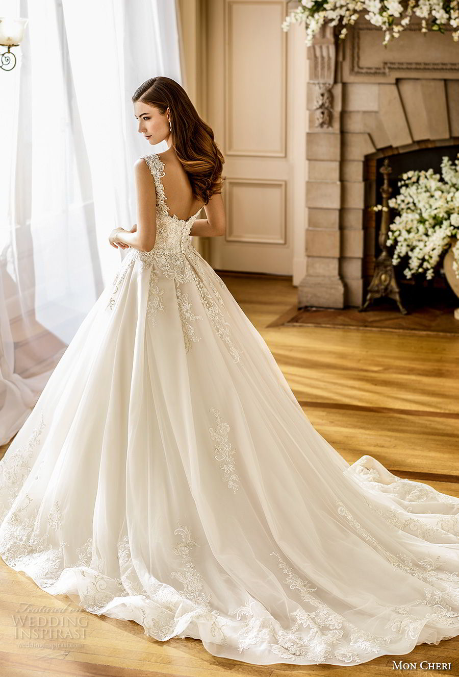 mon cheri fall 2017 bridal cap sleeves sweetheart neckline heavily embellished beaded bodice romantic ball gown a line wedding dress open back chapel train (202) bv