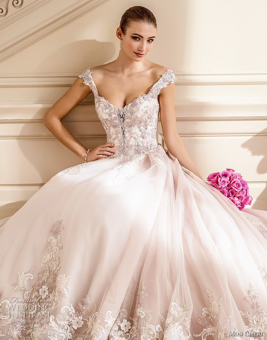 mon cheri fall 2017 bridal cap sleeves sweetheart neckline heavily embellished beaded bodice romantic blush color ball gown a line wedding dress open back chapel train (202) av