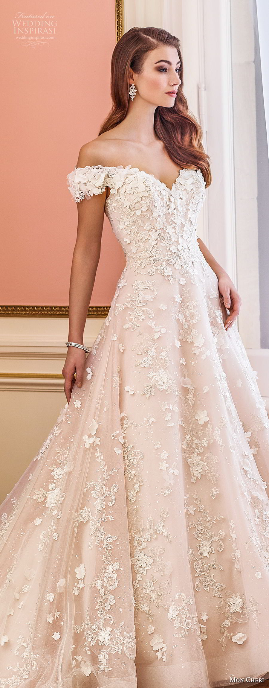 mon cheri fall 2017 bridal off the shoulder sweetheart neckline full embellishment romantic princess pink a line wedding dress royal train (230) lv