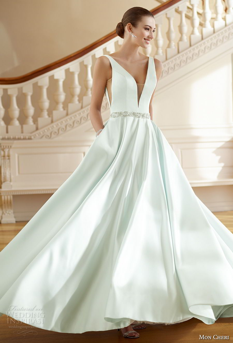 mon cheri fall 2017 bridal sleeveles strap deep v neck simple clean satin skirt green color a line wedding dress with pockets open v back chapel train (215) av