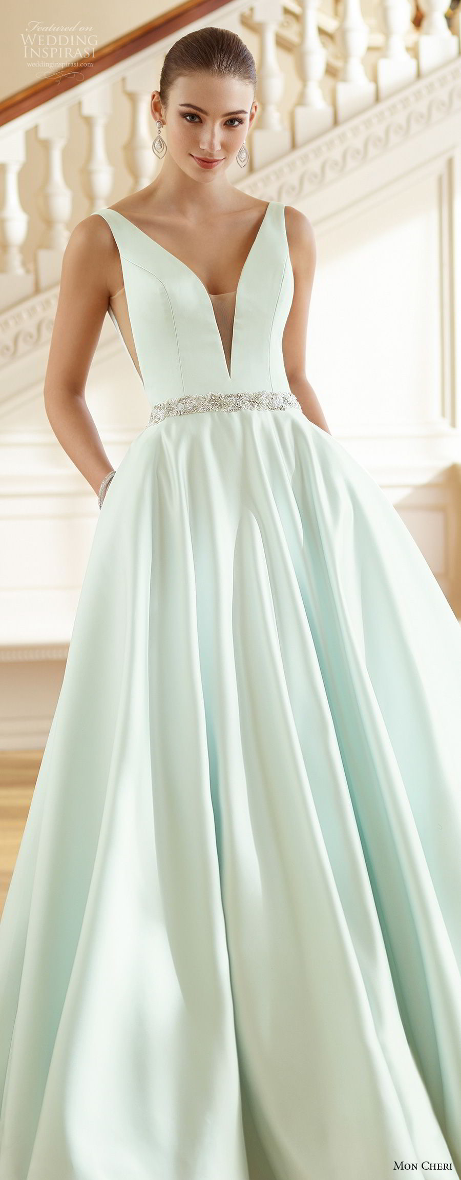 mon cheri fall 2017 bridal sleeveles strap deep v neck simple clean satin skirt green color a line wedding dress with pockets open v back chapel train (215) lv