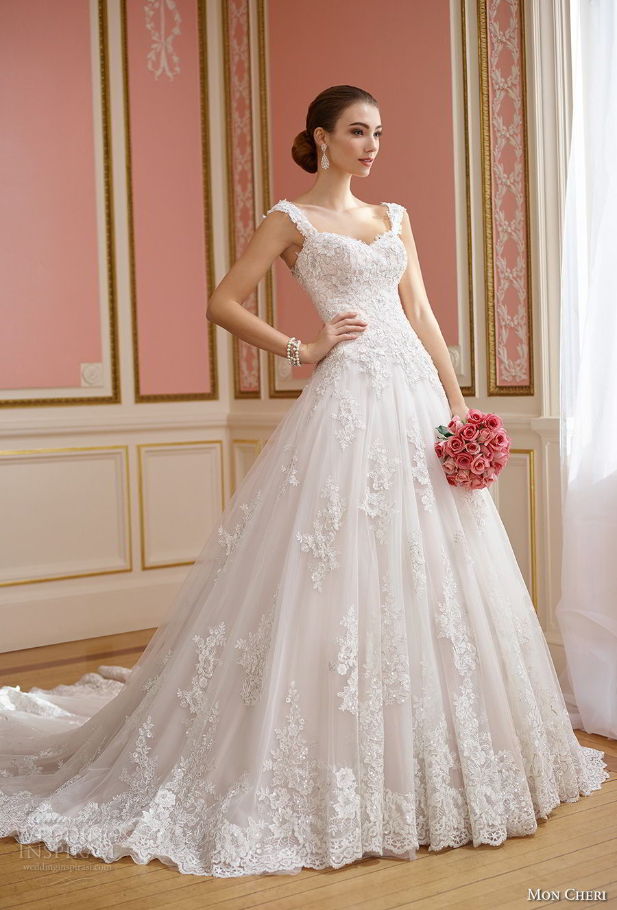mon cheri fall 2017 bridal sleeveles strap sweetheart neckline heavily embellished bodice romantic princess ball gown wedding dress open back royal train (210) av