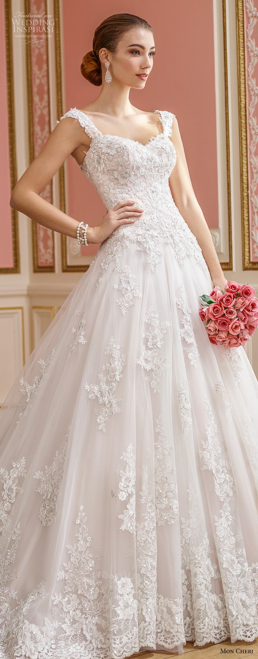 mon cheri fall 2017 bridal sleeveles strap sweetheart neckline heavily embellished bodice romantic princess ball gown wedding dress open back royal train (210) lv