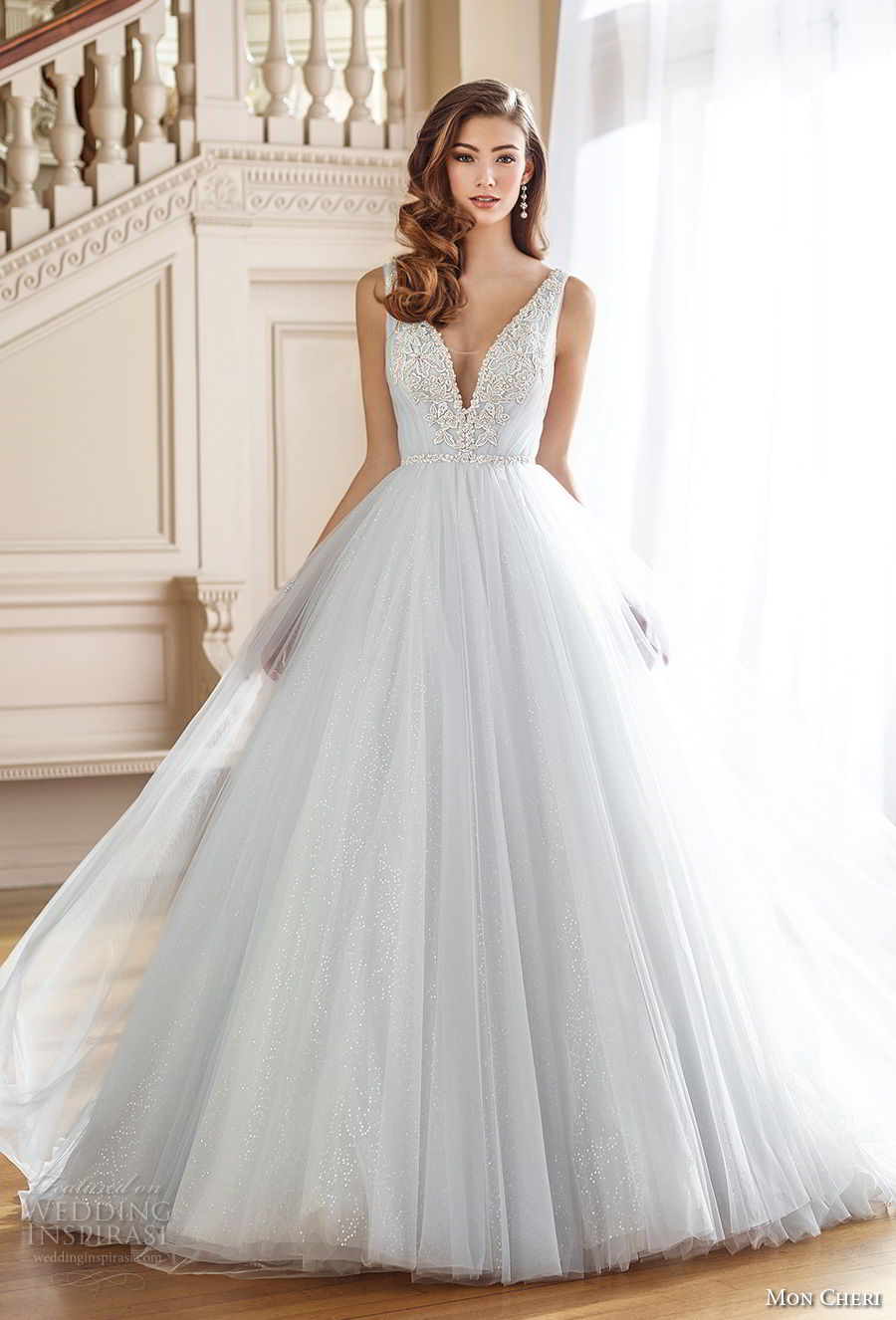 mon cheri fall 2017 bridal sleeveless deep v neck heavily embellished bodice tulle skirt blue romantic a line wedding dress open v back chapel train (217) av