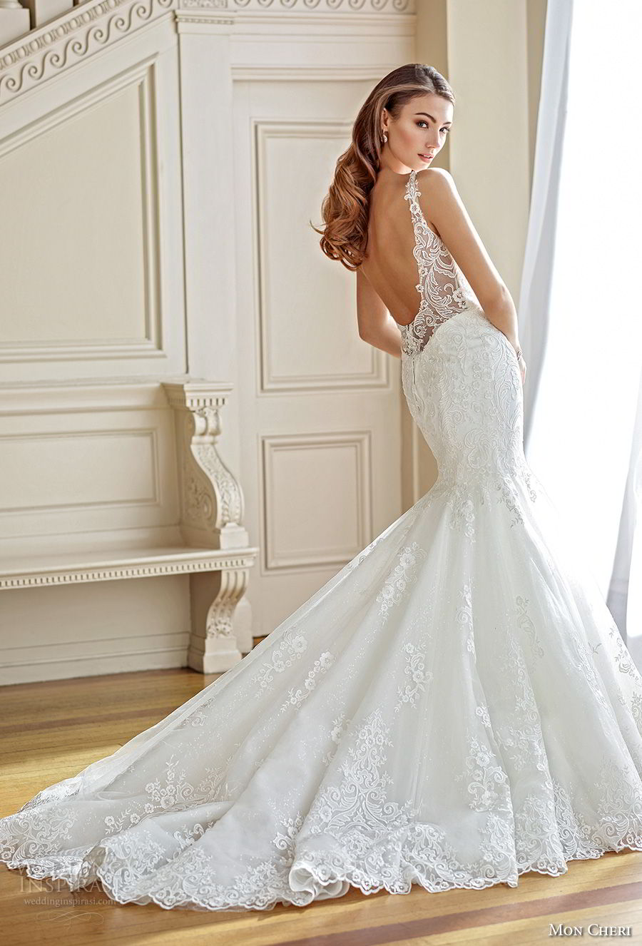 mon cheri fall 2017 bridal sleeveless embroidered strap plunging sweetheart neckline full embellishement elegant mermaid wedding dress open scoop back chapel train (213) bv