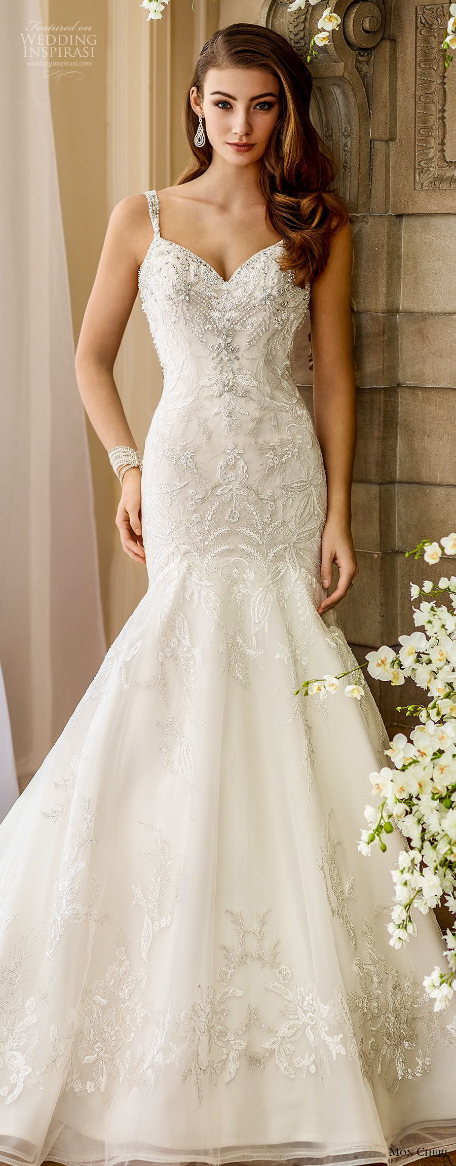 mon cheri fall 2017 bridal sleeveless embroidered strap sweetheart neckline heavily beaded embellished bodice elegant trumpet mermaid wedding dress covered lace back chapel train (208) av