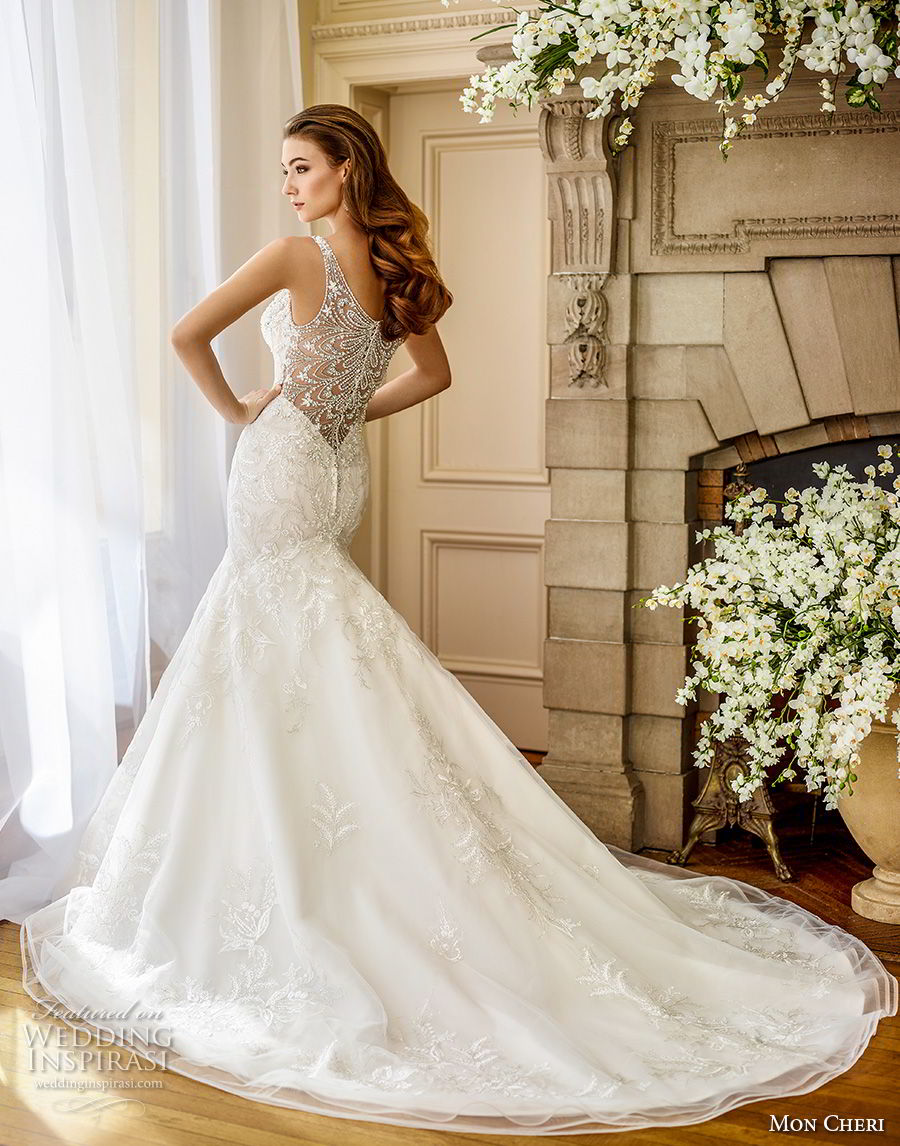 mon cheri fall 2017 bridal sleeveless embroidered strap sweetheart neckline heavily beaded embellished bodice elegant trumpet mermaid wedding dress covered lace back chapel train (208) bv
