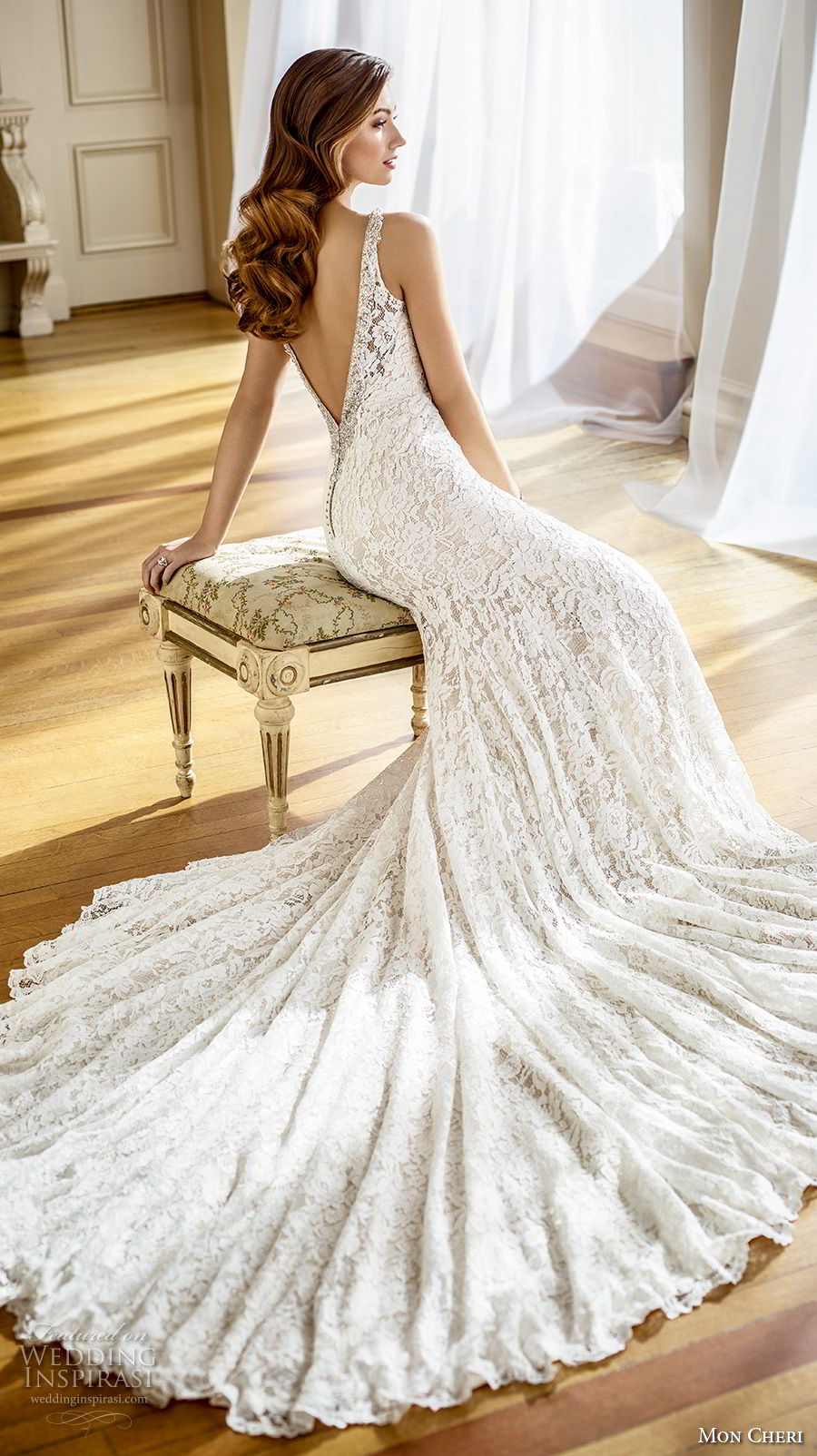 mon cheri fall 2017 bridal sleeveless v neck full embellishment elegant fit and flare mermaid wedding dress open v back chapel train (205) bv