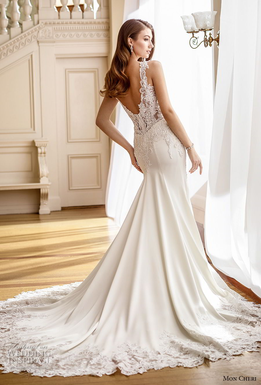 mon cheri fall 2017 bridal sleeveless with strap v neck heavily embellished bodice elegant fit and flare mermaid wedding dress open v back chapel train (225) bv