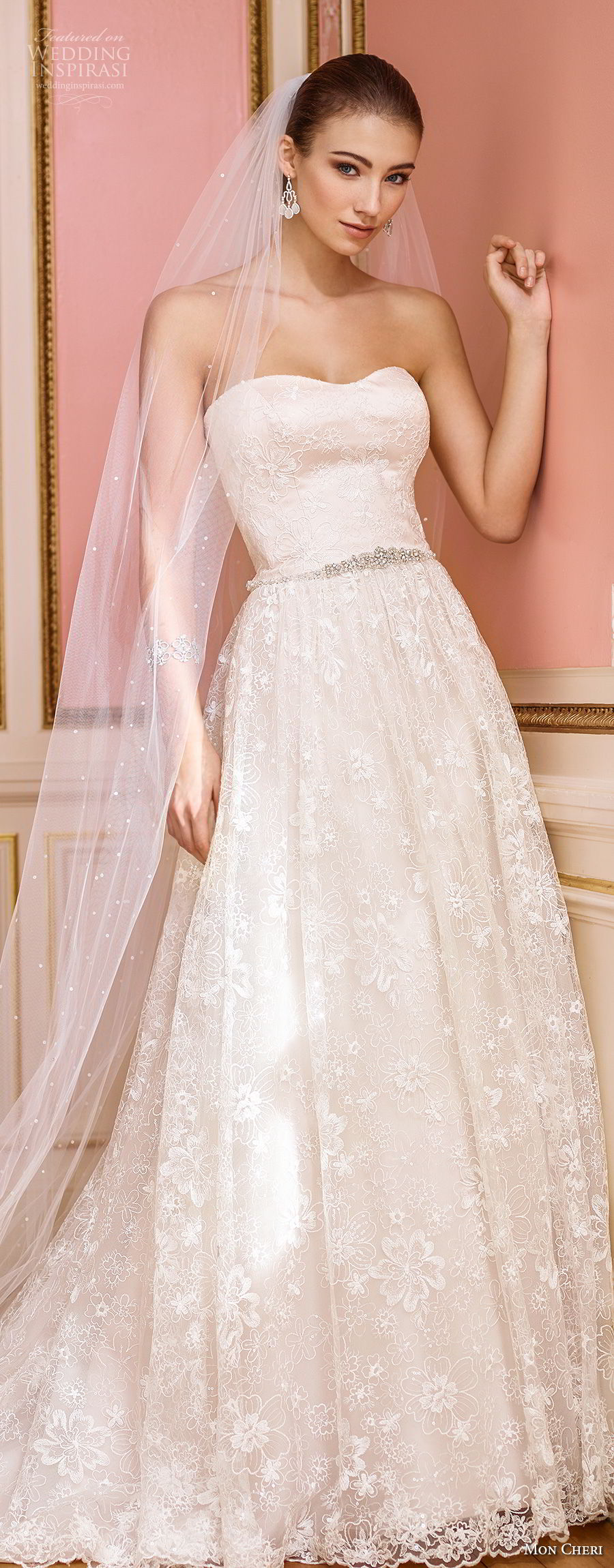 mon cheri fall 2017 bridal strapless semi sweetheart neckline full embellishment romantic blush color a line wedding dress chapel train (229) av