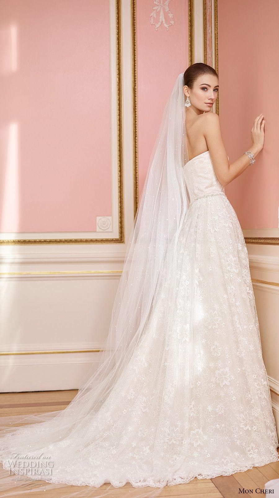 mon cheri fall 2017 bridal strapless semi sweetheart neckline full embellishment romantic blush color a line wedding dress chapel train (229) bv