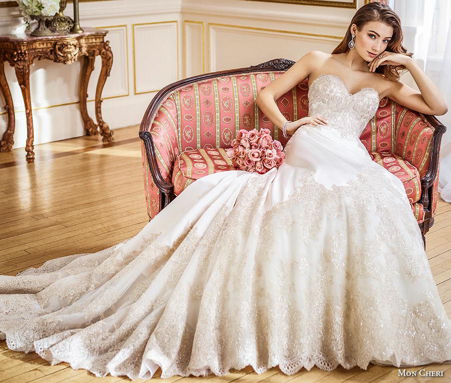 mon cheri fall 2017 bridal strapless sweetheart neckline full embellishment elegant a line wedding dress chapel train (201) av
