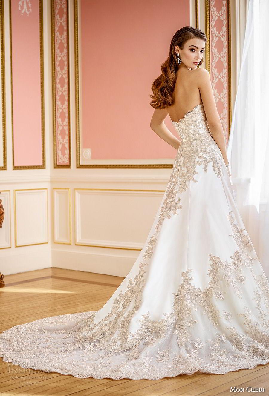 mon cheri fall 2017 bridal strapless sweetheart neckline full embellishment elegant a line wedding dress chapel train (201) bv