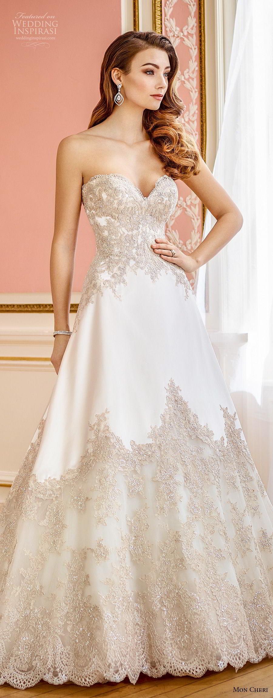 mon cheri fall 2017 bridal strapless sweetheart neckline full embellishment elegant a line wedding dress chapel train (201) lv