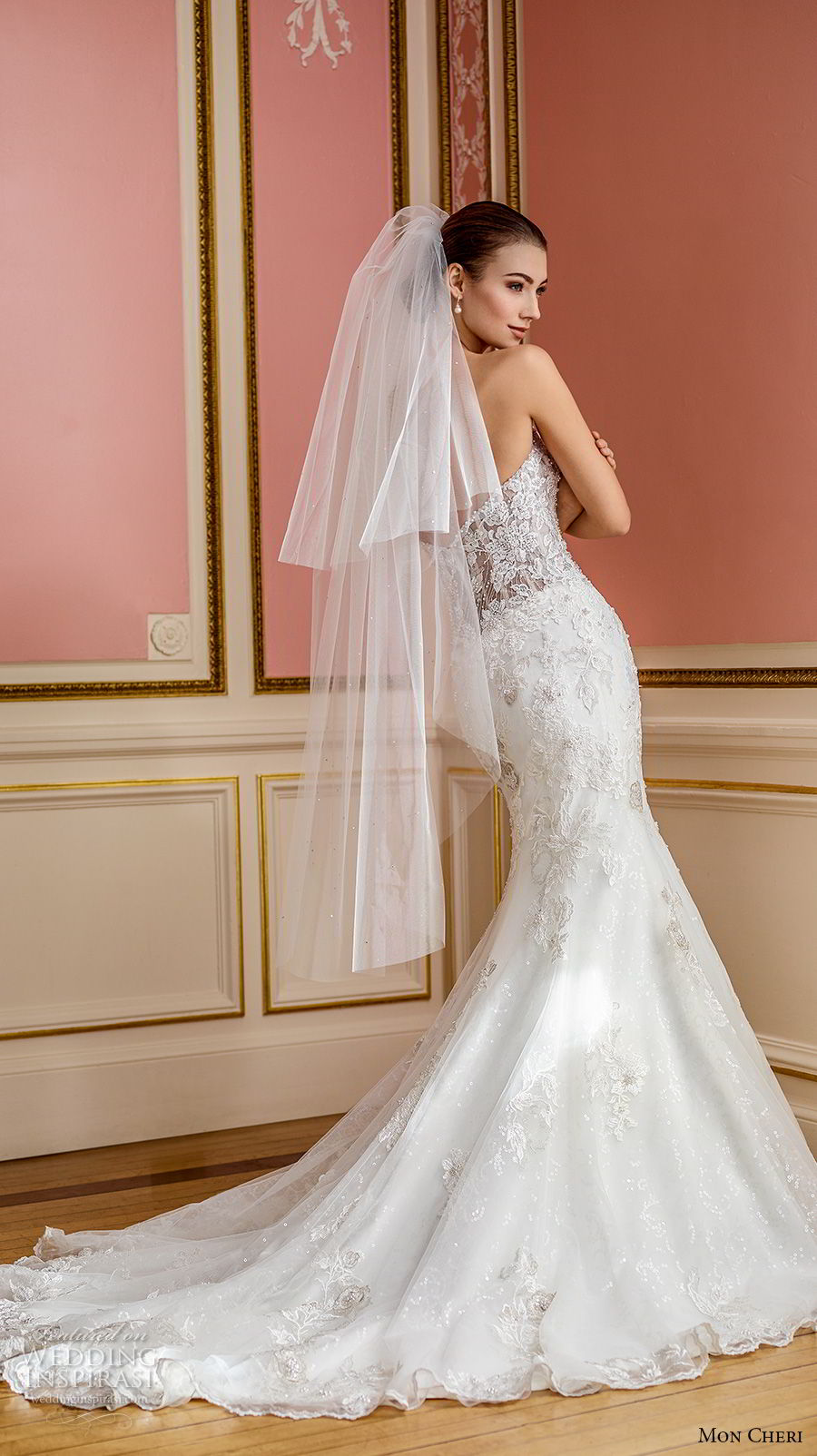 mon cheri fall 2017 bridal strapless sweetheart neckline full embellishment romantic elegant fit and flare mermaid wedding dress chapel train (209) bv