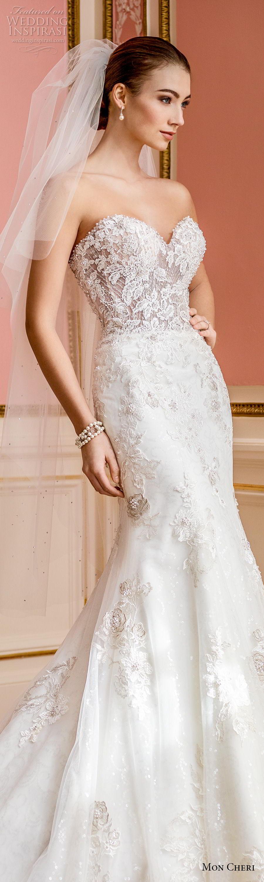 mon cheri fall 2017 bridal strapless sweetheart neckline full embellishment romantic elegant fit and flare mermaid wedding dress chapel train (209) lv