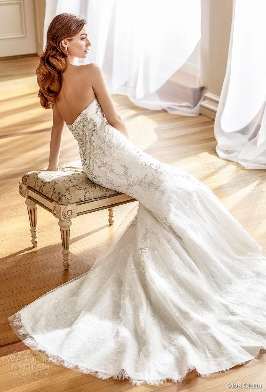 mon cheri fall 2017 bridal strapless sweetheart neckline heavily beaded embellished bodice glamorous elegant trumpet mermaid wedding dress medium train (211) bv