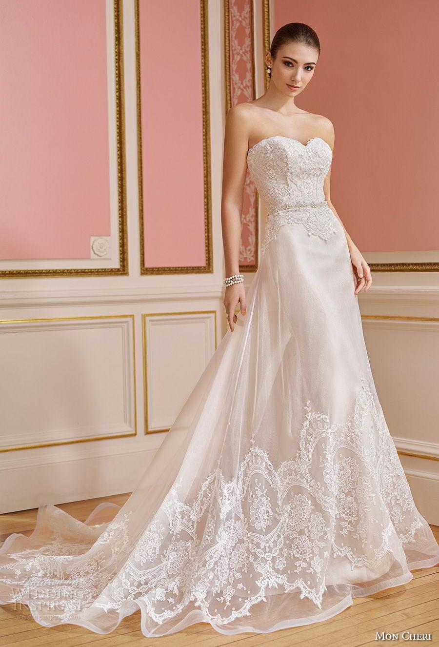 mon cheri fall 2017 bridal strapless sweetheart neckline heavily embellished bodice elegant romantic sheath a line wedding dress chapel train (207) av