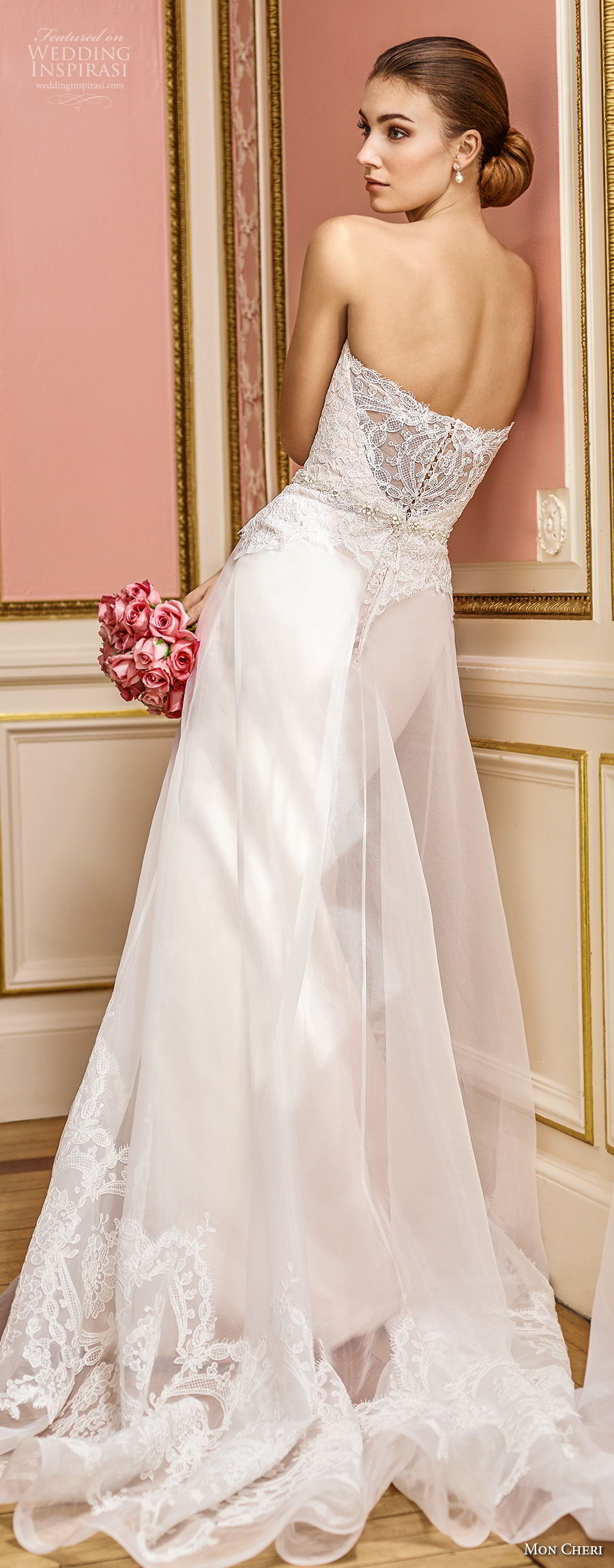 mon cheri fall 2017 bridal strapless sweetheart neckline heavily embellished bodice elegant romantic sheath a line wedding dress chapel train (207) bv