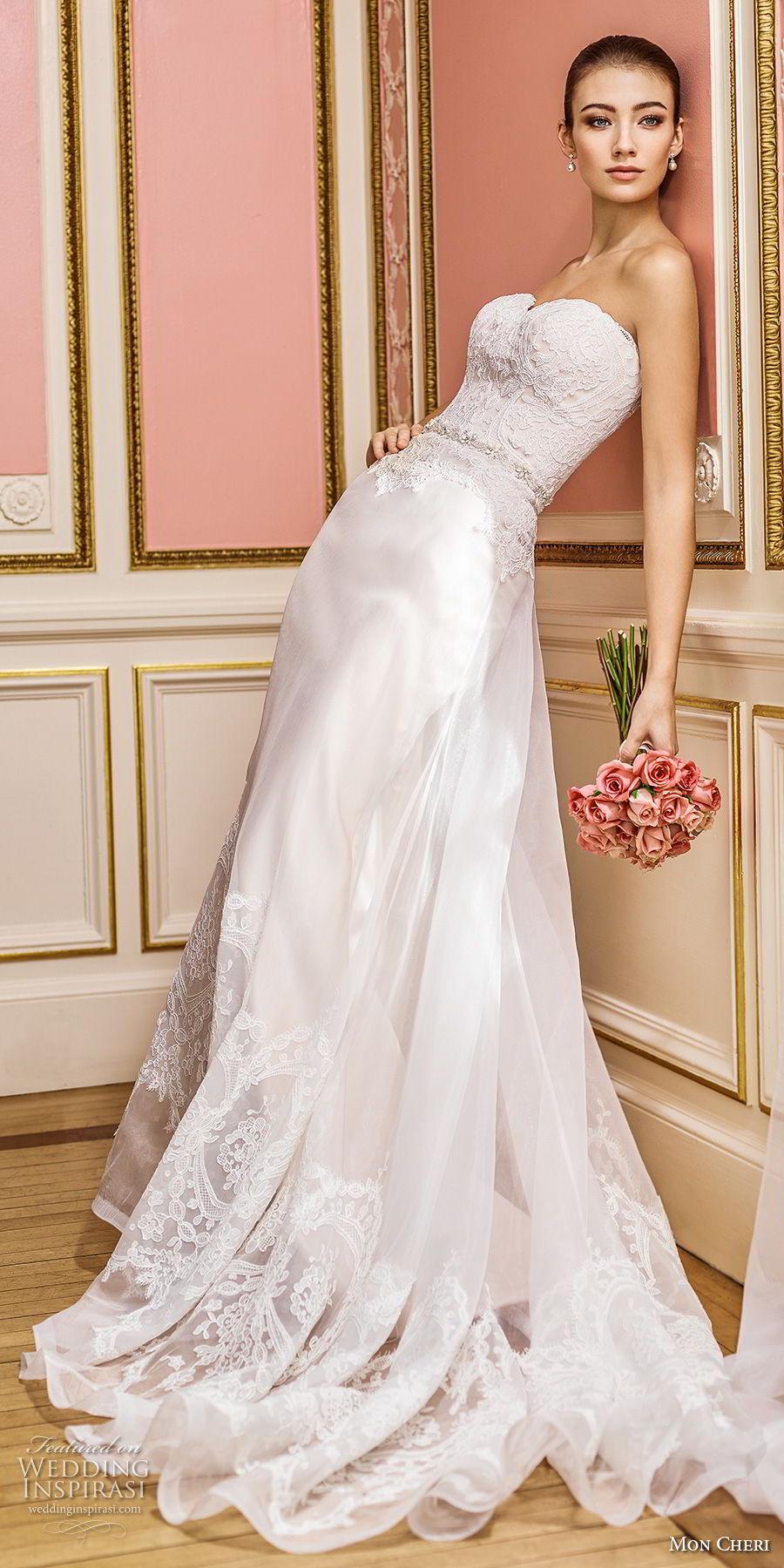 mon cheri fall 2017 bridal strapless sweetheart neckline heavily embellished bodice elegant romantic sheath a line wedding dress chapel train (207) sdv